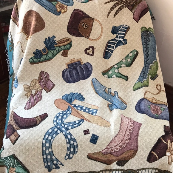 Purse Shoes Afghan Tapestry Throw Blanket